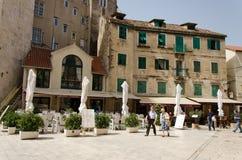 Split Tour. SPLIT, CROATIA - MAY 19, 2013: Pedestrians in the historic center of Dalmatian city of Split, Croatia On May 19, 2013, in Split, Croatia Royalty Free Stock Photos