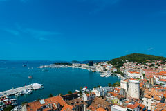 Split- view of coastline and the part of old town. Royalty Free Stock Images