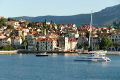 Split view from the sea. Sea view from the city of Split in Croatia Royalty Free Stock Image