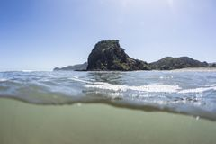 Split View of Lion Rock Piha Beach. A split view from the sea at Piha Beach of it`s iconic Lion Rock stock photos