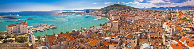 Split waterfront aerial panoramic view Royalty Free Stock Photography