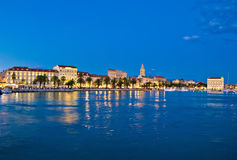 Split waterfront blue hour view Royalty Free Stock Image