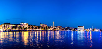 Split waterfront evening blue panorama, Split, Croatia Stock Photos