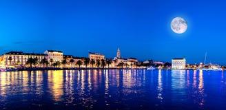 Split waterfront evening blue panorama, Split, Croatia Royalty Free Stock Photo