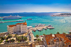 Split waterfront and harboar aerial view Stock Image
