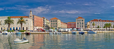 Split waterfront Peristil panoramic view Stock Image