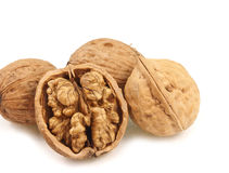 Split and whole walnut Stock Photography