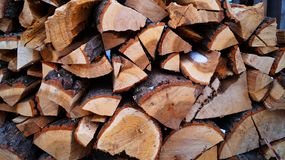 Split wood for heating. Split forest wood for fire place and stove Royalty Free Stock Photos