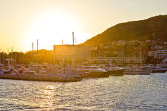 Split yachting marina golden sunset view Royalty Free Stock Image
