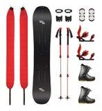 Splitboard och annan sportutrustning arkivbild