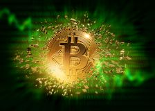 Splited gold bitcoin. On a wdark blue background Stock Photography
