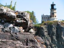 Splitrock Light House. In the background.  From the shore of Lake Superior Royalty Free Stock Photography