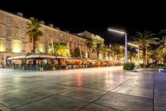 Splitska riva at night. Shot of Splitska riva at night. The promenade is almost deserted when the tourist are gone after summer is over. This is taken in fall of Royalty Free Stock Photography