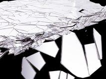 splitted玻璃锋利的片断在黑色的 库存例证