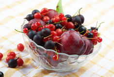 Splitted berries in a bowl. Mixed summer splitted berries in a cristal bowl on white Royalty Free Stock Images