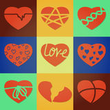 Splitted hearts. The hearts chopped into pieces Stock Photography