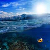 Splitted podwodnego zmierzchu mokry szablon Fotografia Stock