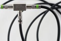splitter задобренный кабелем сигнала tv Стоковые Изображения