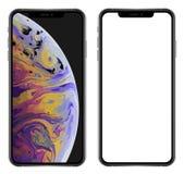 Splitterny realistisk mobiltelefonsmartphone i den maximal Apple iPhonen XS stock illustrationer