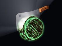 Splitting the atom. Rendered interpretation of nuclear fission involving the splitting of the uranium atom Stock Photo