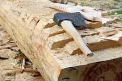 Splitting axe on a tree trunk. Stock Image