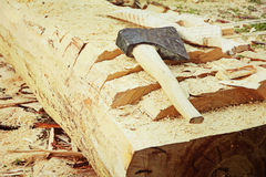 Splitting axe on a tree trunk.Toned image. Royalty Free Stock Photography
