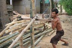 Splitting Bamboos Royalty Free Stock Image