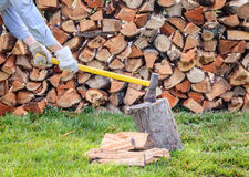 Splitting firewood Stock Image