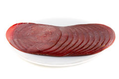 Splitting of the reindeer sausage Stock Images