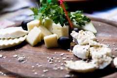 Splitting a solid tasty goat cheese with sesame seeds Stock Image