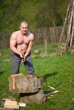 Splitting wood Stock Photography