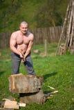 Splitting wood Stock Photography