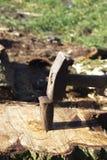 Splitting wood stock images
