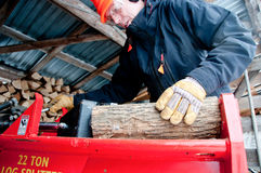 Splitting wood in the woodshed Stock Images