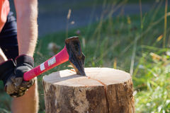 Splitting wood Stock Image