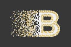 Splittra den realistiska rasterillustrationen för bokstav B 3D Vriden bokstav med explosioneffekt på mörk bakgrund vektor illustrationer