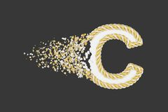 Splittra den realistiska rasterillustrationen för bokstav C 3D Vriden bokstav med explosioneffekt på mörk bakgrund royaltyfri illustrationer