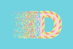 Splittra den realistiska rasterillustrationen för bokstav D 3D Alfabetbokstav med marshmallowtextur Isolerad designbeståndsdel stock illustrationer