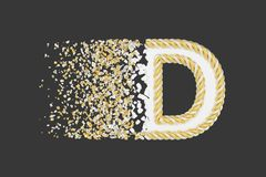Splittra den realistiska rasterillustrationen för bokstav D 3D Vriden bokstav med explosioneffekt på mörk bakgrund vektor illustrationer