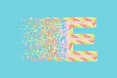 Splittra den realistiska rasterillustrationen för bokstav E 3D Alfabetbokstav med marshmallowtextur Isolerad designbeståndsdel vektor illustrationer