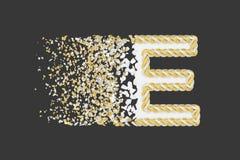 Splittra den realistiska rasterillustrationen för bokstav E 3D Vriden bokstav med explosioneffekt på mörk bakgrund vektor illustrationer