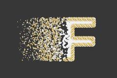 Splittra den realistiska rasterillustrationen för bokstav F 3D Vriden bokstav med explosioneffekt på mörk bakgrund vektor illustrationer