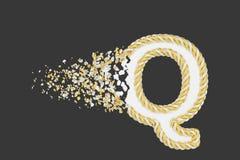 Splittra den realistiska rasterillustrationen för bokstav Q 3D Vriden bokstav med explosioneffekt på mörk bakgrund stock illustrationer