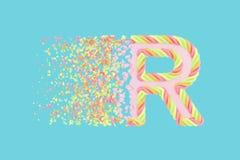 Splittra den realistiska rasterillustrationen för bokstav R 3D Alfabetbokstav med marshmallowtextur Isolerad designbeståndsdel royaltyfri illustrationer