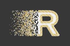 Splittra den realistiska rasterillustrationen för bokstav R 3D Vriden bokstav med explosioneffekt på mörk bakgrund vektor illustrationer