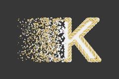 Splittra den realistiska rasterillustrationen f?r bokstav K 3D Vriden bokstav med explosioneffekt p? m?rk bakgrund stock illustrationer