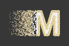 Splittra den realistiska rasterillustrationen f?r bokstav M 3D Vriden bokstav med explosioneffekt p? m?rk bakgrund stock illustrationer