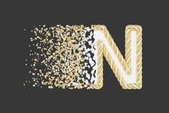 Splittra den realistiska rasterillustrationen f?r bokstav N 3D Vriden bokstav med explosioneffekt p? m?rk bakgrund royaltyfri illustrationer
