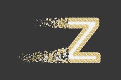Splittra den realistiska rasterillustrationen f?r bokstav Z 3D Vriden bokstav med explosioneffekt p? m?rk bakgrund vektor illustrationer