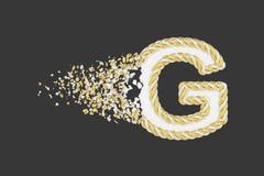Splittra illustrationen för raster för bokstavsG 3D den realistiska Vriden bokstav med explosioneffekt på mörk bakgrund stock illustrationer